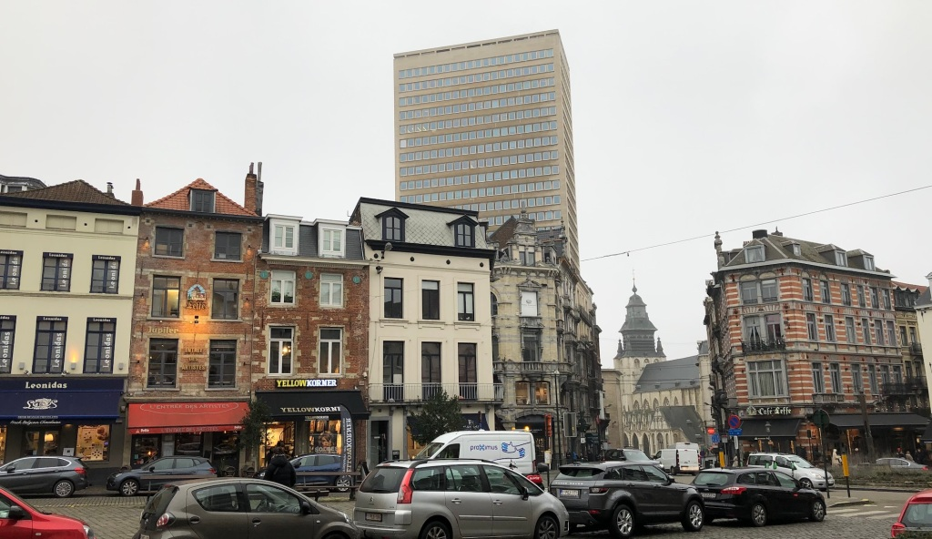 The traditional art dealer district at the Grand Sablon in the Brussels city centre.