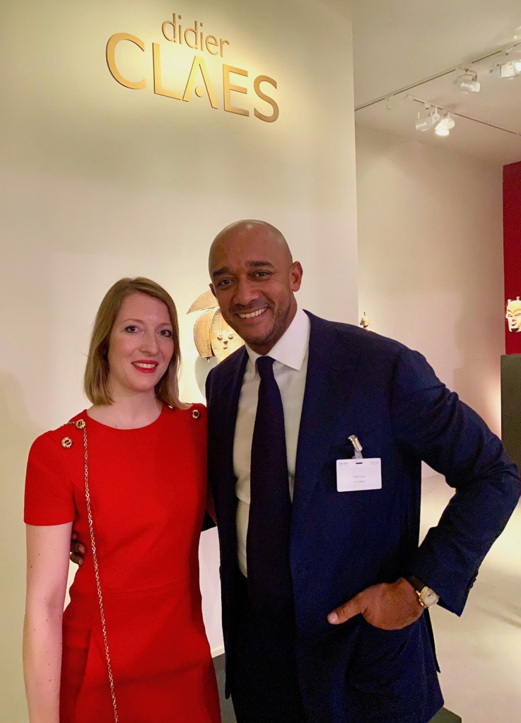 Journalist Claudia Scholz meeting gallery owner Didier Claes at the Brafa art fair 2020.